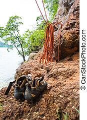 Rock climbing equipment,  Railay  Krabi Thailand