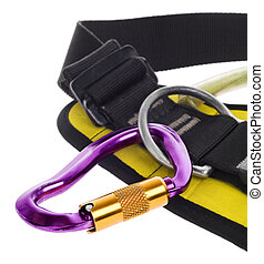 rock climbing harness and carabiner on white portrait