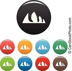 Rock climbing icons set color vector