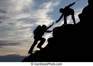 Illustration of people climbing mountain