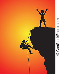 rock climbing - two climbers climbing the cliff