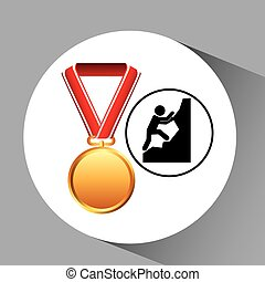 rock climbing medal sport extreme graphic