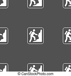 rock climbing sign. Seamless pattern on a gray background. Vector