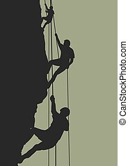Rock climbing team - Illustration of people climbing...