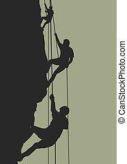 Rock climbing team - Illustration of people climbing...