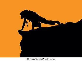 rock climbing - The climber climbs uphill