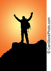 rock climbing - The climber has reached mountain tops