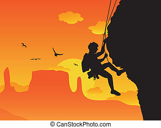rock climbing - a man doing rock climbing