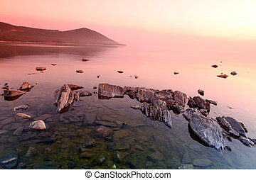 Rock coast, Lake Baikal, Russia