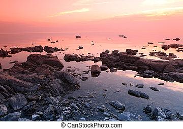 Rock coast, Lake Baikal, Russia