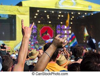 Crowd in a outdoor rock concert