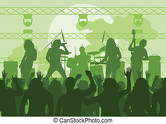 Rock concert landscape background illustration