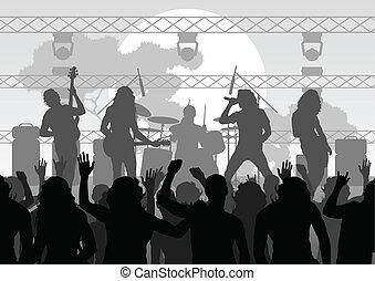 Rock concert landscape background illustration vector