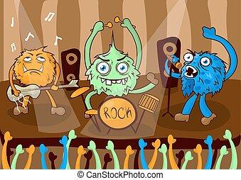 Rock concert music band of cartoon monsters vector...