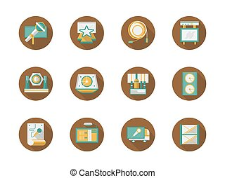 Rock concert organization round flat vector icons