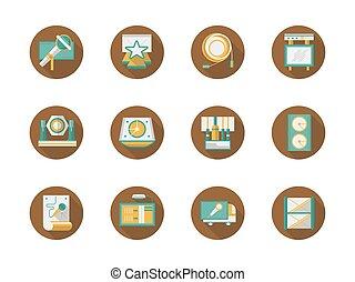 Rock concert organization round flat vector icons