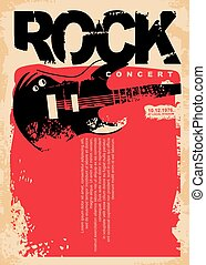 Rock concert poster template with electric guitar on grungy red background