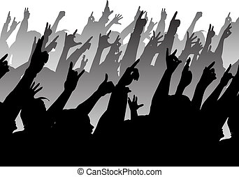 Rock crowd - Silhouette of audience at a concert