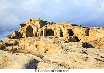 Rock cut city of Uplistsikhe is an ancient rock-hewn town near Gori in Georgia