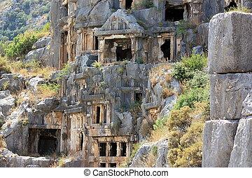 Rock-cut tombs in ancient town Myra. Turkey.