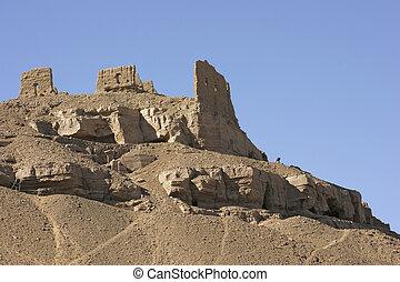 rock cut tombs near Aswan in Egypt