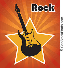 rock design over grunge background vector illustration