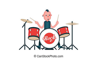 Rock drummer plays the drum set. Looped animation with alpha...