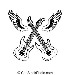 Rock Electric Guitars Wings Vector Illustration