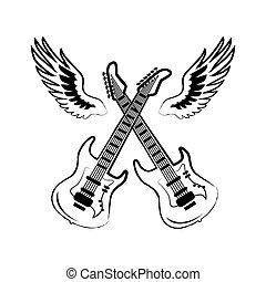Rock Electric Guitars Wings Vector Illustration