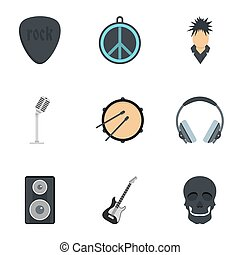Rock equipment icon set, flat style