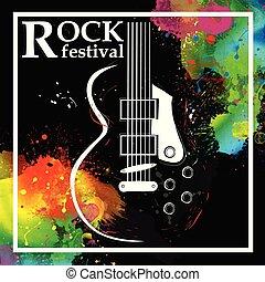 Rock festival design template with guitar