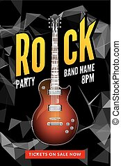 Rock festival flyer event design template. Guitar vector poster music band
