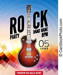 Rock festival flyer event design template. Guitar vector poster music band