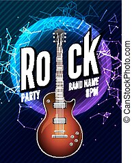 Rock festival flyer event design template. Guitar vector poster rock music band