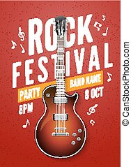Rock festival flyer event design template with guitar
