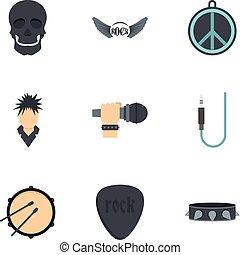 Rock festival icon set, flat style