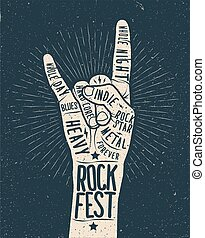 Rock festival poster, flyer.