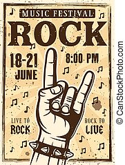 Rock festival poster or banner with horns hand gesture vector illustration in vintage style. Layered, separate grunge textures and text