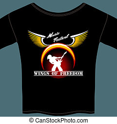 Rock festival t-shirt - Vector rock music city festival...