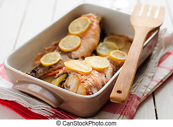 Rock Fish Baked with Lemon