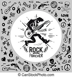 Rock Forever Person Guitarist Vector Illustration