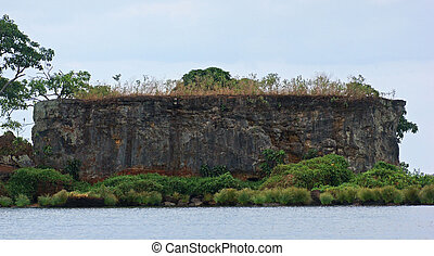 rock formation at Lake Victoria near Entebbe - waterside...