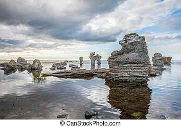 Rock formation on Gotland - Raukar on Gotland, Sweden.