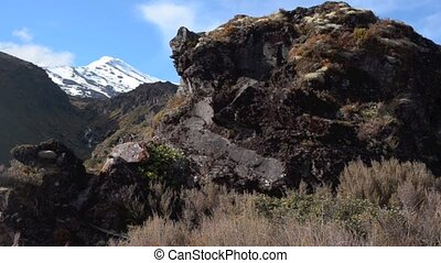 Rock formation on Mount Ruapehu in New Zealand National park...