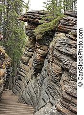 Rock Formation - Rock formation at Athabasca Falls along...