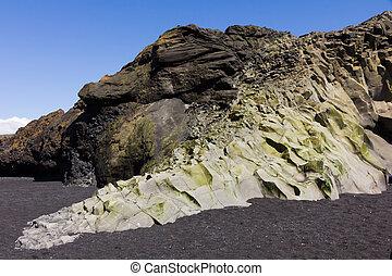 rock formation vik beack black sand iceland
