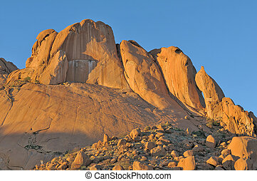 Rock formations at Spitzkoppe in Namibia at sunset