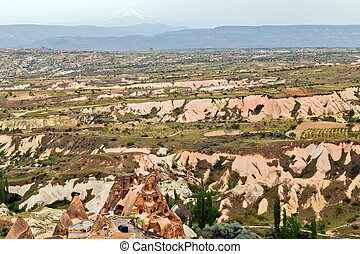Rock formations in Cappadocia, Anatolia, Turkey. Goreme national park.