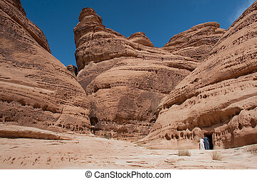 Rock formations in Madaîn Saleh, Saudi Arabia