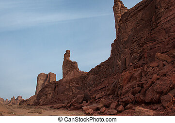 Rock formations near Al-Ula in the deserts of Saudi Arabia